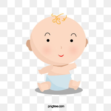 the sitting boy waved in the blue cartoon element of diapers, Cartoon, Sit, Baby PNG and PSD