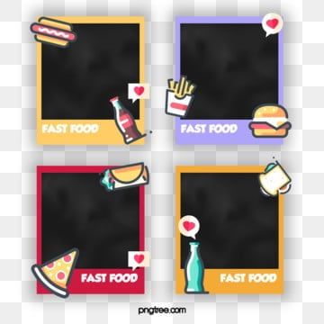 cartoon fast food style polaroid small element photo paper, Element, Cartoon, Lovely PNG and PSD