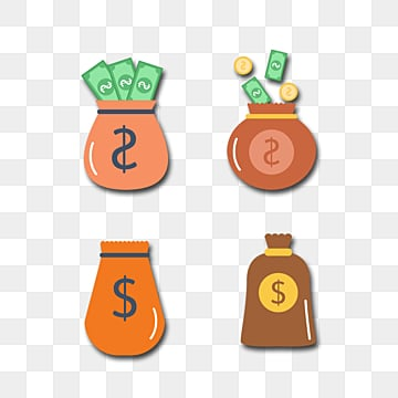 financial money bag decoration group, Bill, Dollar, Gold Coin PNG and PSD