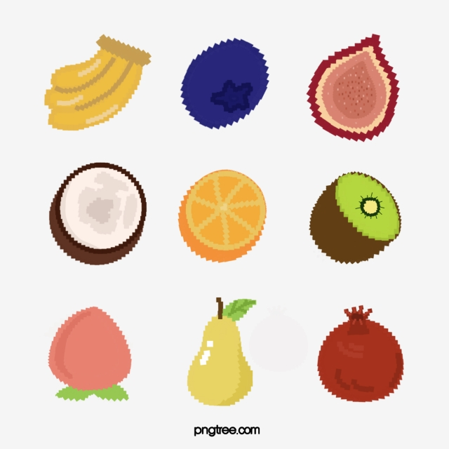 Mosaic Pixel Fruit Banana Blueberry Fig Coconut Orange