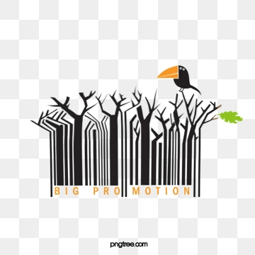 creative branch crow barcode elements, Crow, Creative, Cartoon PNG and PSD