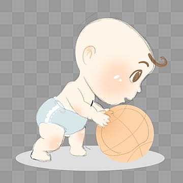 cute cartoon baby playing basketball, Element, Cartoon, Lovely PNG and PSD