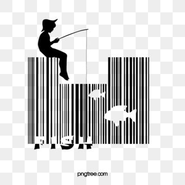 fishing barcode elements, Bar Code, Go Fishing, Black And White PNG and PSD