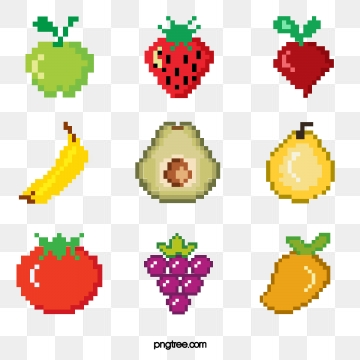 mosaic pixel fruit combination elements, Pixel, Element, Lovely PNG and PSD