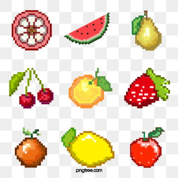 mosaic pixel fruit combination, Pixel, Element, Cartoon PNG and PSD