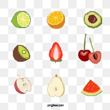 mosaic pixel wind various cut fruit elements, Pixel Wind, Incision, Cherry PNG and PSD