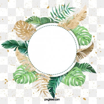 nordic green leaf watercolor luxury gold border, Element, Northern Europe, Leaf PNG and PSD