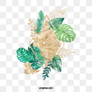 nordic green plants luxury gold border elements, Element, Northern Europe, Leaf PNG and PSD