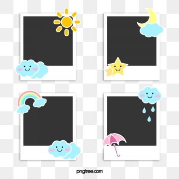 polaroid weather decoration paper, Cartoon, Weather, Sunlight PNG and PSD