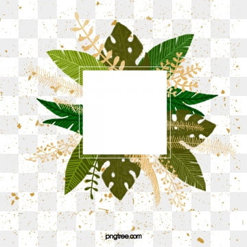 tropical green planting fashion watercolor luxury gold square border, Element, Northern Europe, Leaf PNG and PSD