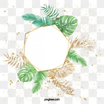 watercolor green planting luxury gold border, Element, Leaf, Extravagant Gold PNG and PSD