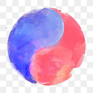 수채색 한국 빨간색 태극기 원소, 원소, 태극기, 수채 PNG 및 PSD