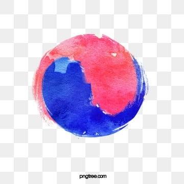 수채 한국 태극기 원소, 원소, 태극기, 수채 PNG 및 PSD