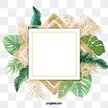 watercolor nordic green leaves with luxurious gold border, Element, Northern Europe, Leaf PNG and PSD