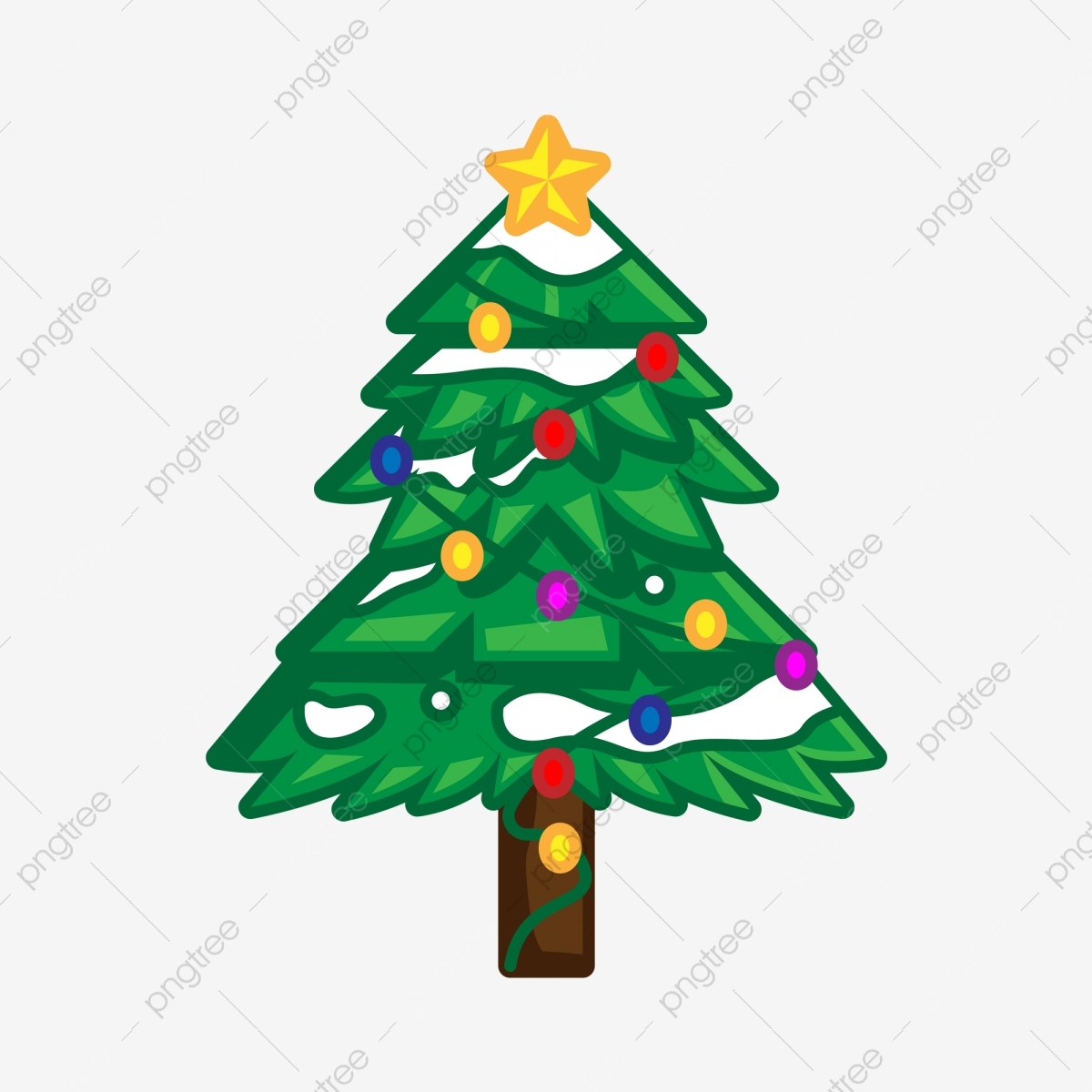Ai Cartoon Christmas Tree Holiday Material Ai Cartoon Christmas Tree Png And Vector With Transparent Background For Free Download