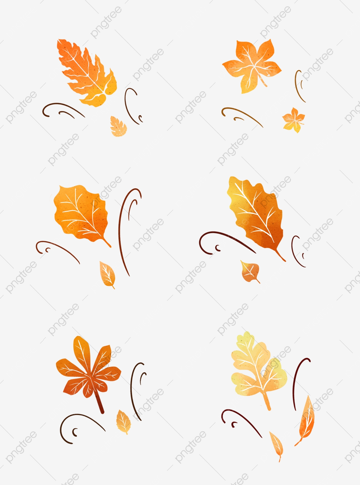 Autumn Wind Blowing Leaves Hand Drawn Elements Autumn Autumn Leaves Maple Leaf Png Transparent Clipart Image And Psd File For Free Download