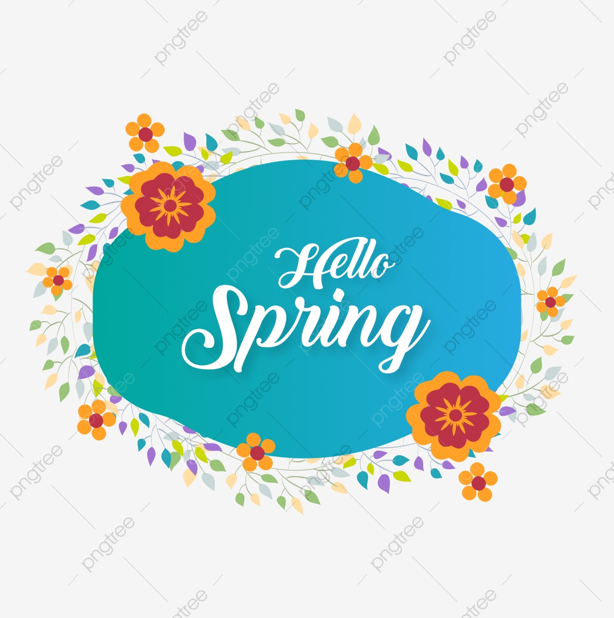 Beautiful Hello Spring Label With Colorful Flowers Vector