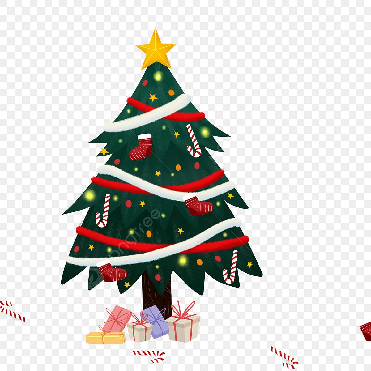 Desenhos Animados Um Arvore Natal Desenho Caricatura Ilustracao