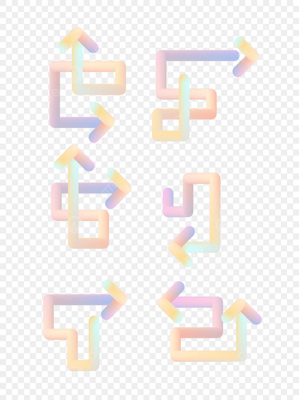 élément De Flèche Dessin Animé Mignon Dégradé Coloré 25d