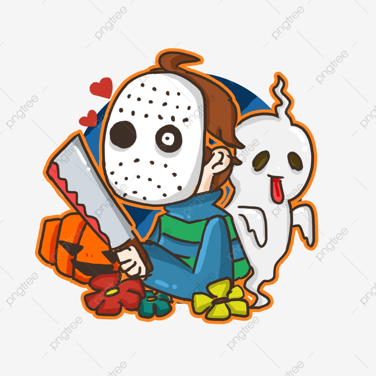 Kartun Lucu Pembunuh Halloween Penanda Doodle Unsur
