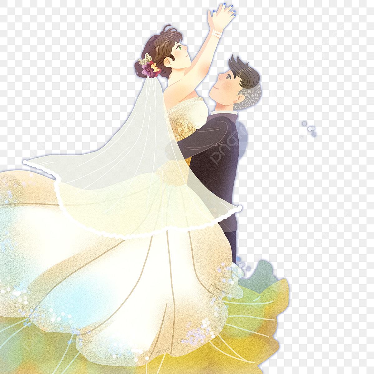 Pasangan Kartun Yang Ditarik Mengambil Gambar Foto