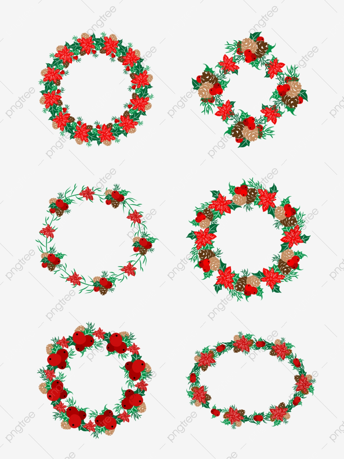 Christmas Garland Set Of Illustration Elements Wreath Christmas