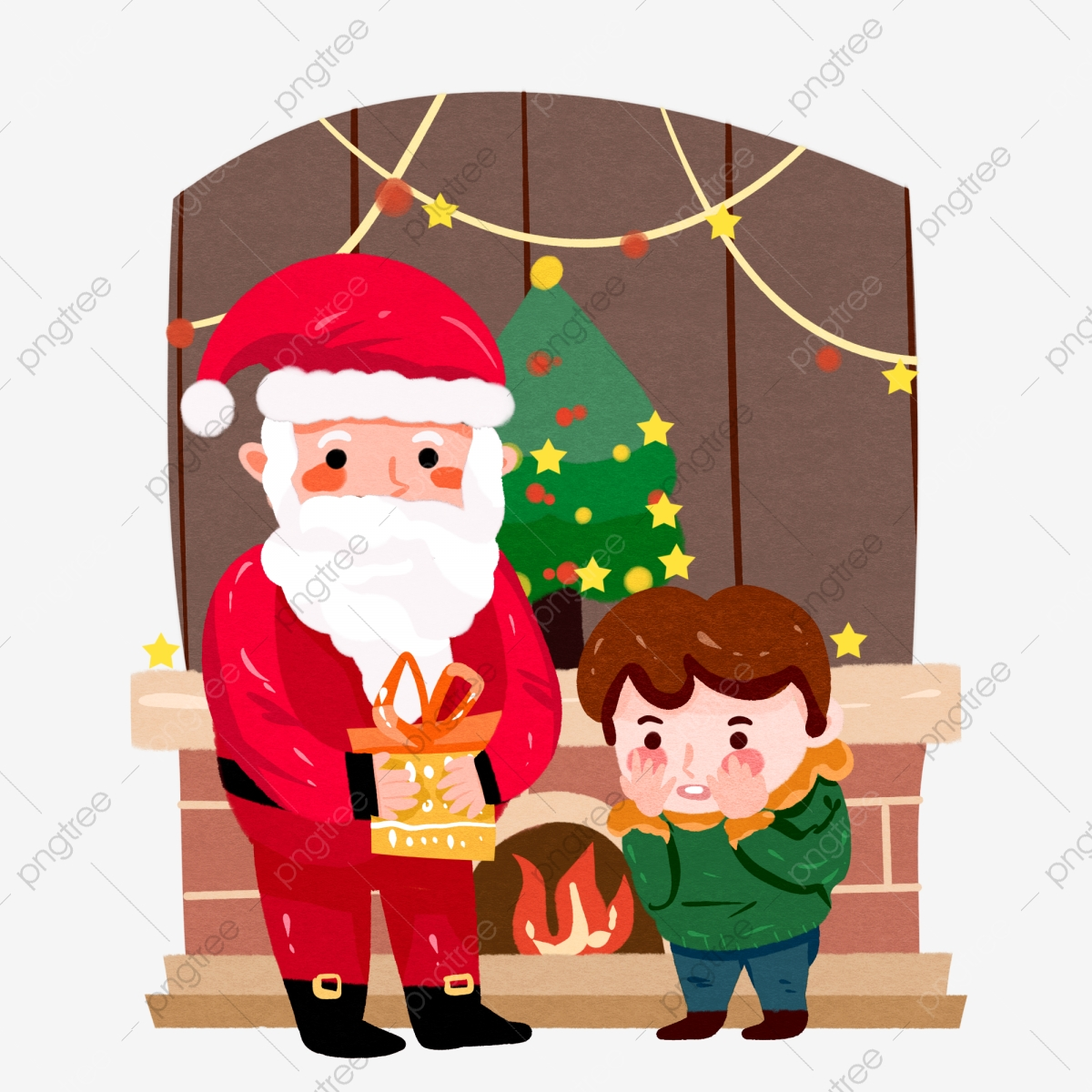 Christmas Fireplace Scene Clipart.Christmas Scene Santa Claus Giving Gifts Little Boy