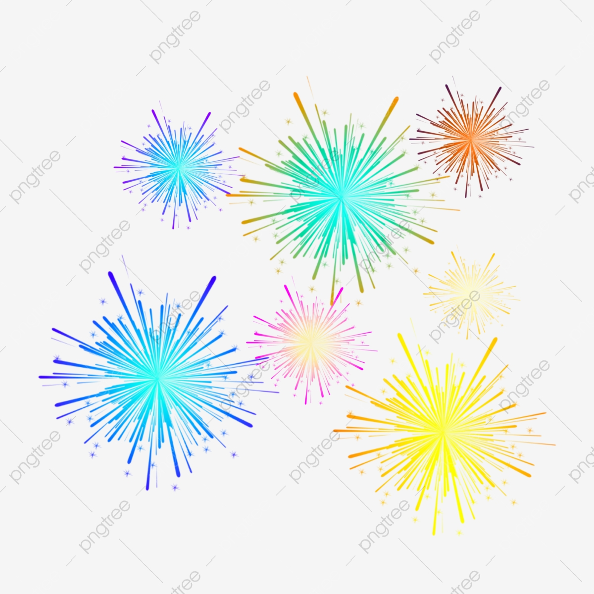 احتفالي الألعاب النارية اللون تصميم التدرج عنصر زخرفي مبتهج ألعاب نارية اللون Png وملف Psd للتحميل مجانا