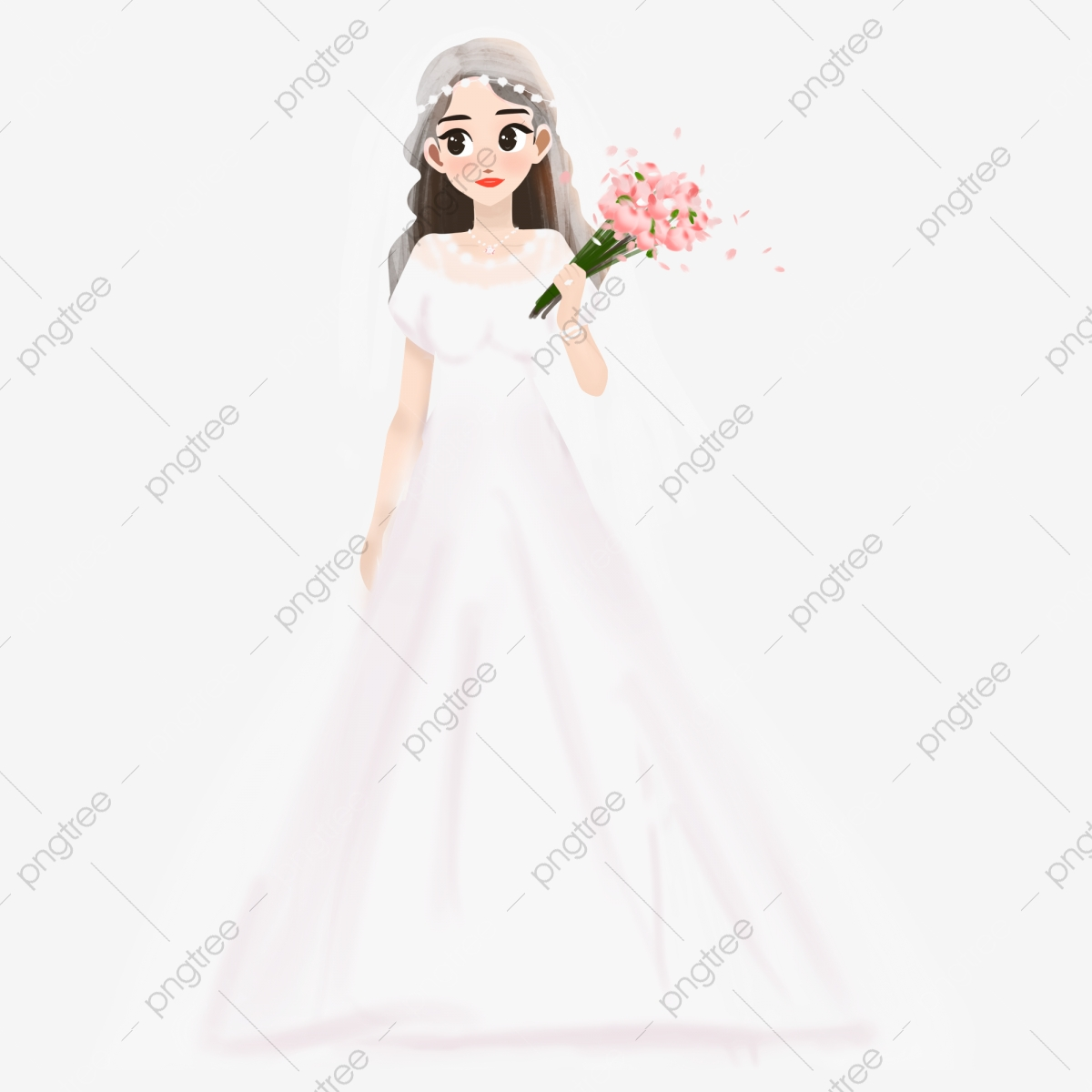 Fresh And Cute Big Eyed Bride With Mercial Elements
