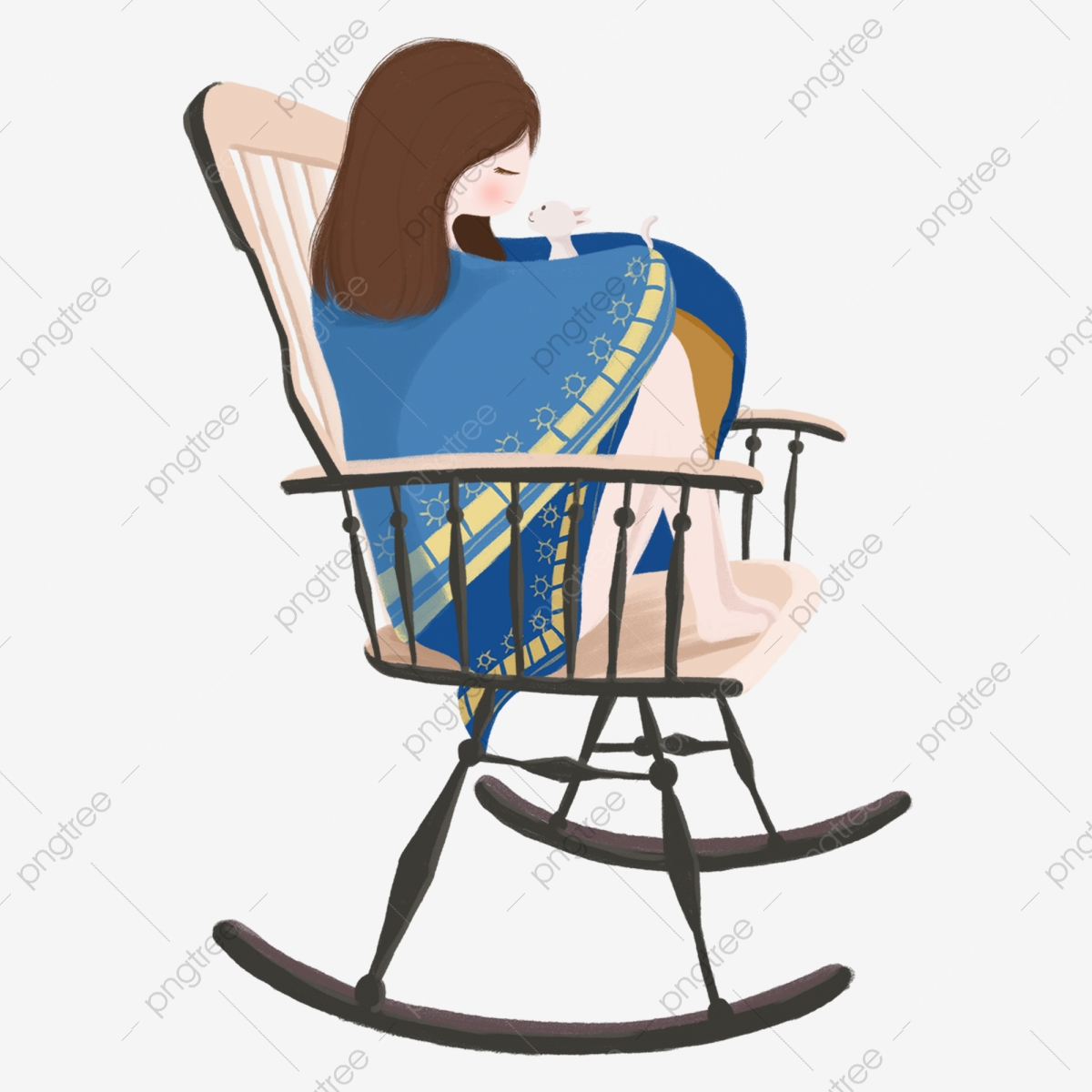Remarkable Hand Drawn Cartoon Curled Up In Blue Dress Beauty Sitting Machost Co Dining Chair Design Ideas Machostcouk