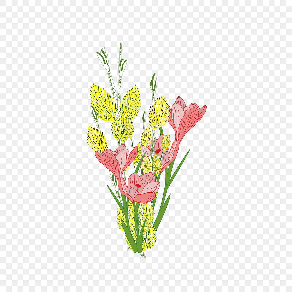 Fleur Réaliste De Dessin Animé Vent Dessiné à La Main