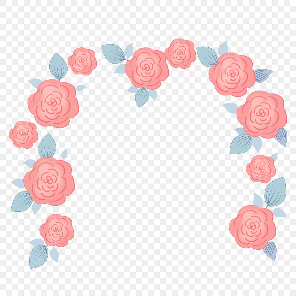 Peint à La Main Bande Dessinée Pastel Rouge Arqué Rose Fleur