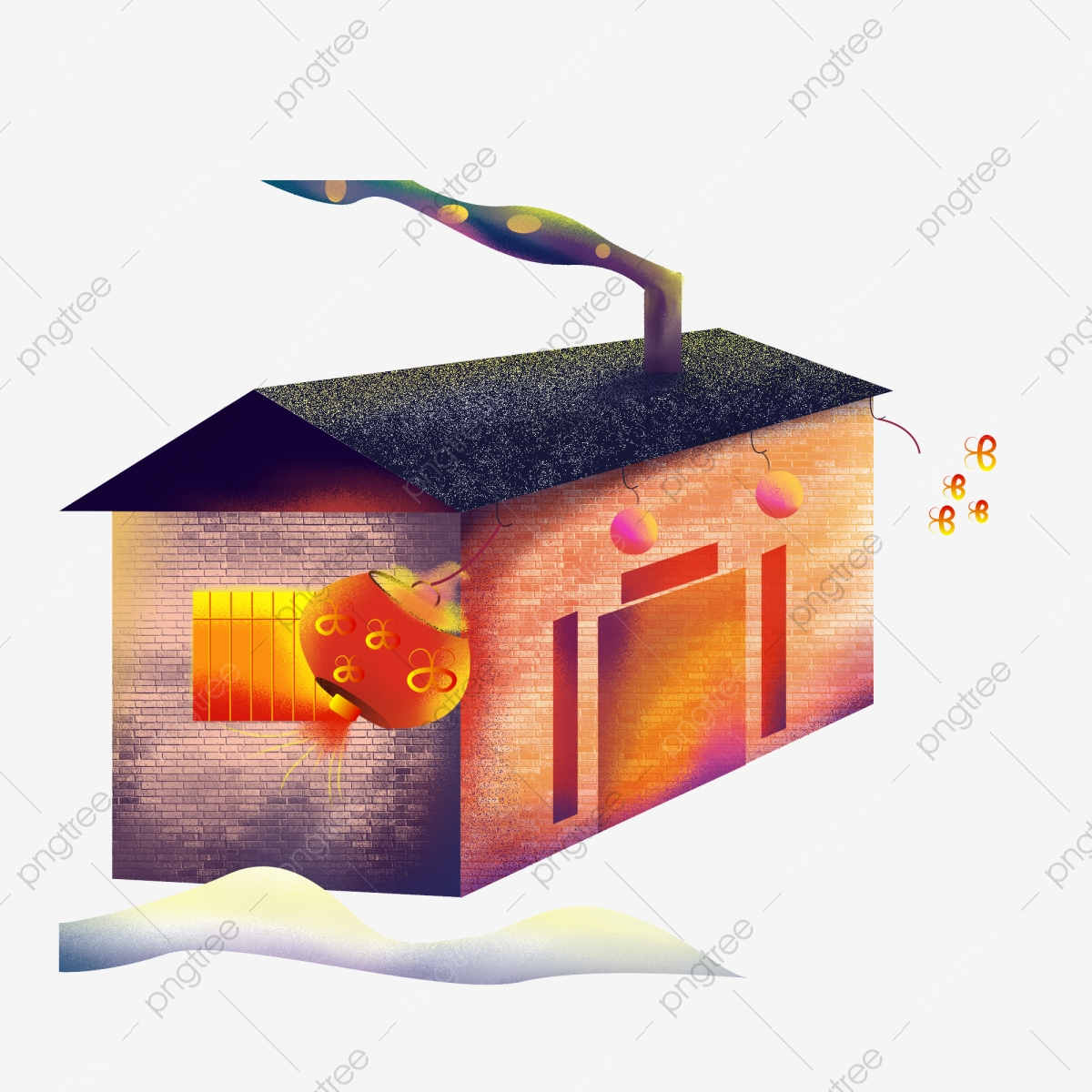 Hand Painted Chinese Style Small House Design With Commercial