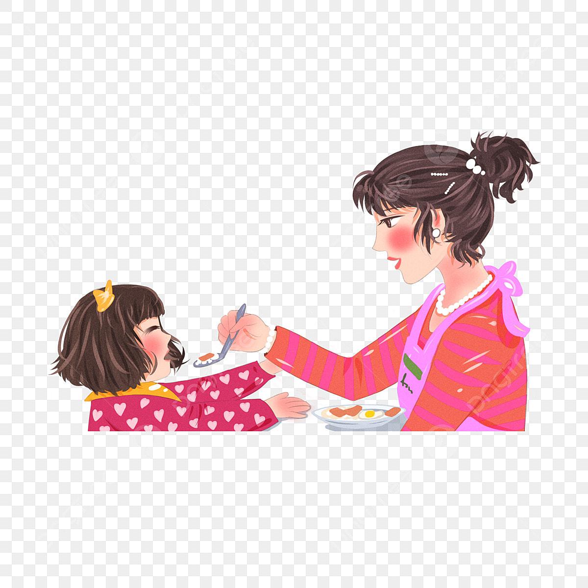 Maman Nourrit Sa Fille à Manger Des éléments De Dessin Animé