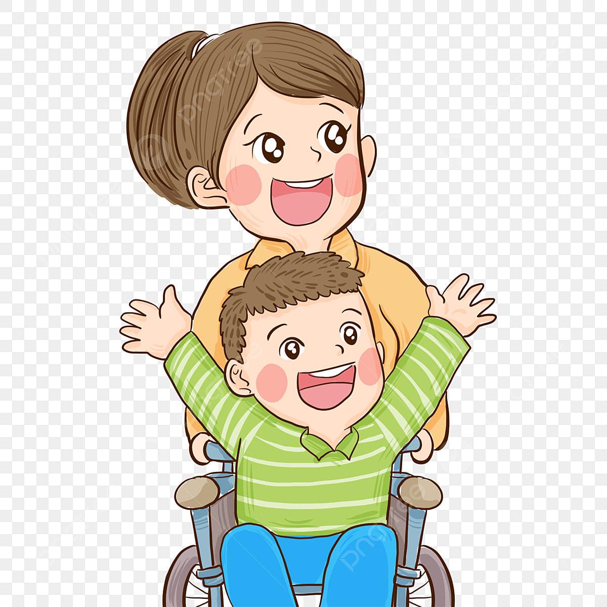 Gambar Kanak Kanak Kurang Upaya Yang Cacat Dan Ibunya Dicat Gembira Dilumpuhkan Png Dan Psd Untuk Muat Turun Percuma
