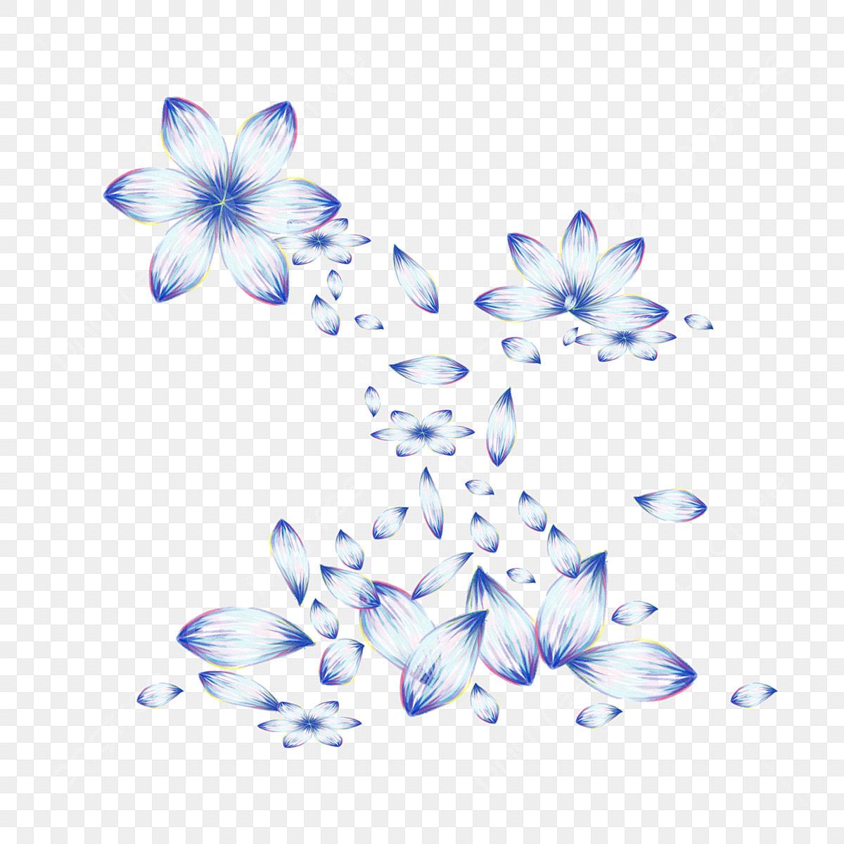 Petalo Che Cade Elemento Da Colorare Blu Dipinto A Mano Sistema Di