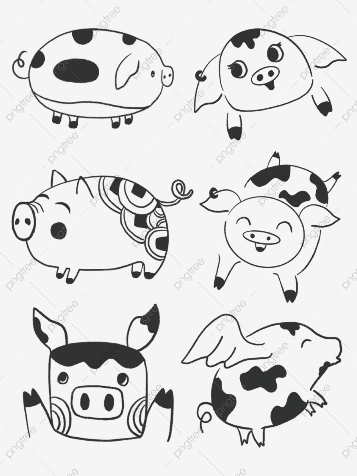 Pig Year Simple Cute Black And White Hand Painted Material Element Year Of The Pig Cute Pig Paper Cut Pig Png Transparent Clipart Image And Psd File For Free Download