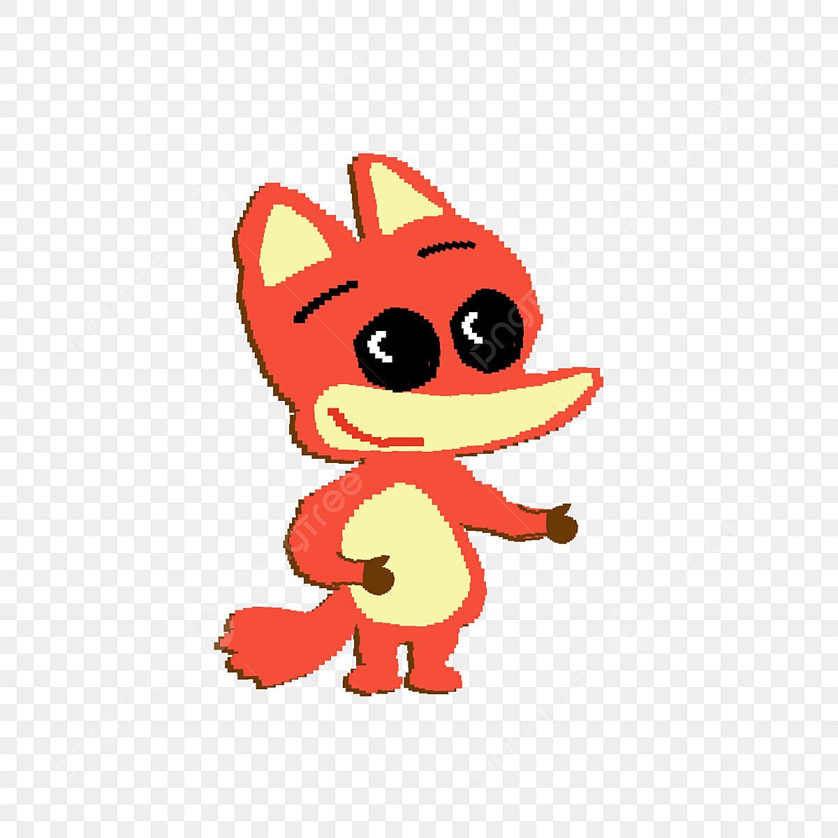 Pixelated A Little Fox Cartoon Hand Drawn Design With