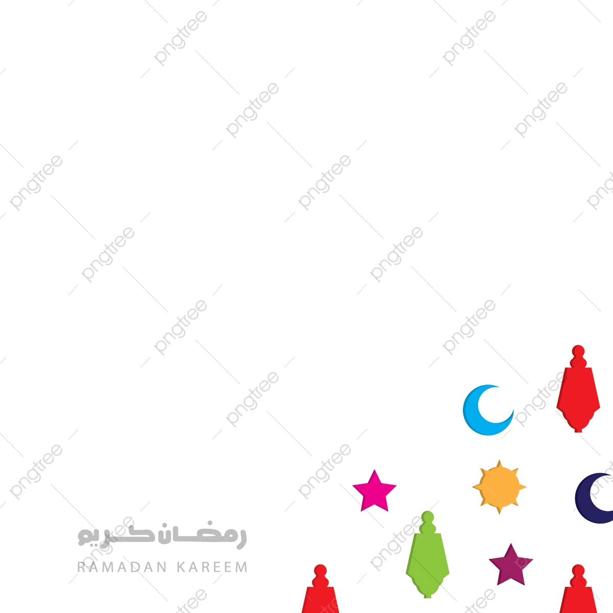 الهلال رمضان كريم خلفية بيضاء مع النجوم الملونة زهرة و Lanternsholy شهر المسلمين السنة خلاصة العربية فن Png والمتجهات للتحميل مجانا