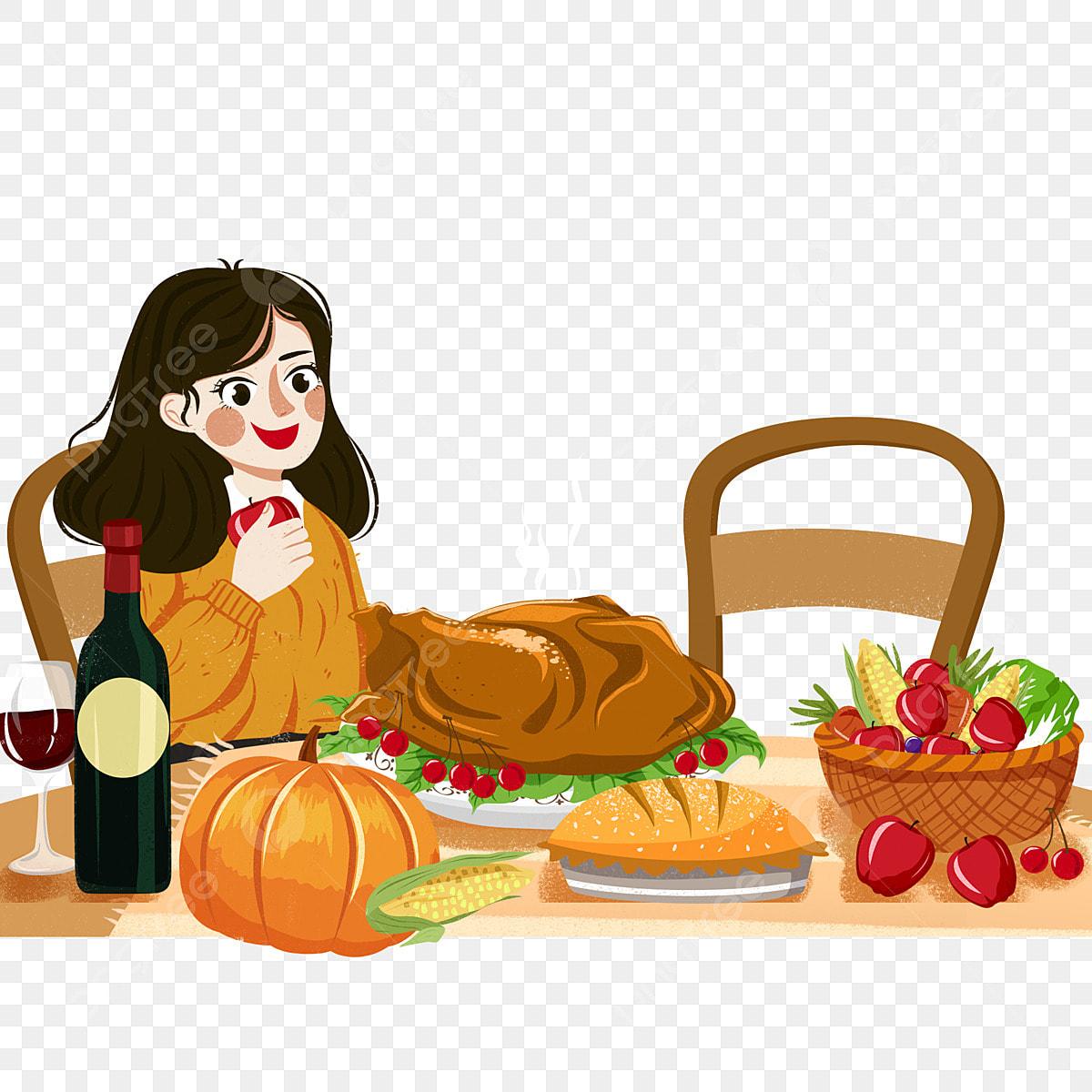 Fille De Thanksgiving Chaud Manger Un Repas Gastronomique Manger Des Cliparts Peint Chaud Fichier Png Et Psd Pour Le Telechargement Libre