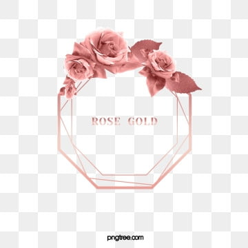 elegant delicate rose gold octagonal rose leaf border, Gloss, Eight Sided Shape, Geometric PNG and PSD