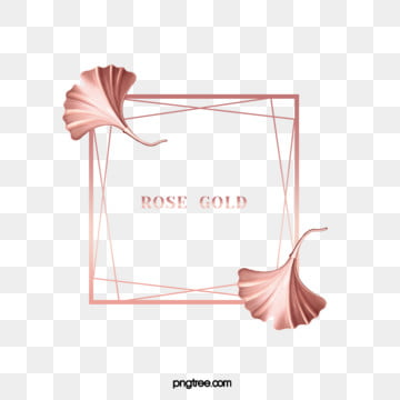 elegant deluxe rose ginkgo leaf frame, Gloss, Geometric, Square Box PNG and PSD