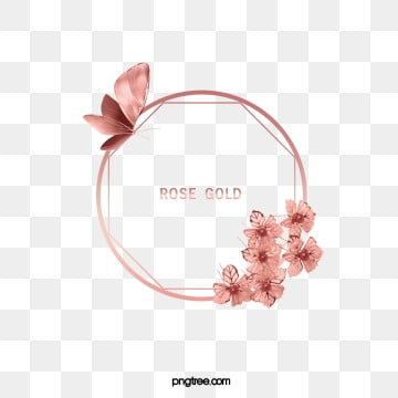 elegant deluxe rose gold round butterfly lace frame, Gloss, Geometric, Circular PNG and PSD