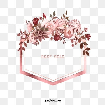 elegant deluxe rose gold watercolor flower leaf, Gloss, Hexagon, Leaf PNG and PSD