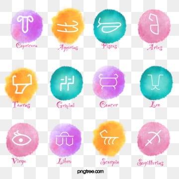 watercolor halo twelve constellation symbols, Twelve Constellations, Constellation, Halo Dyeing PNG and PSD