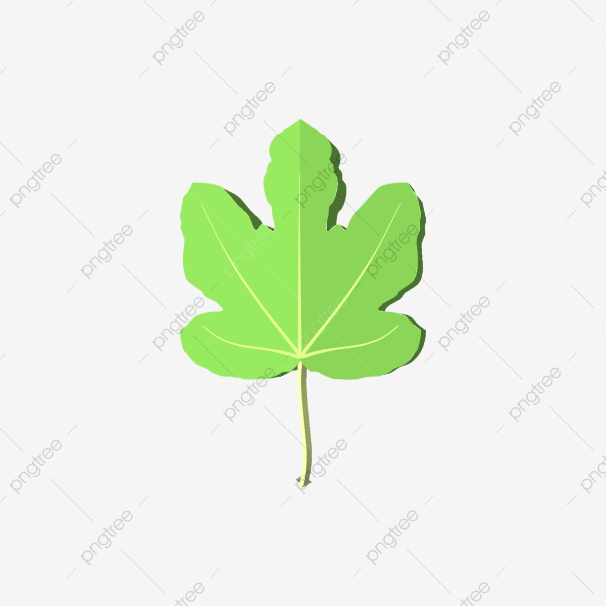 3d Style Cartoon Minimalistic Plant Decorative Green Leaves, Green