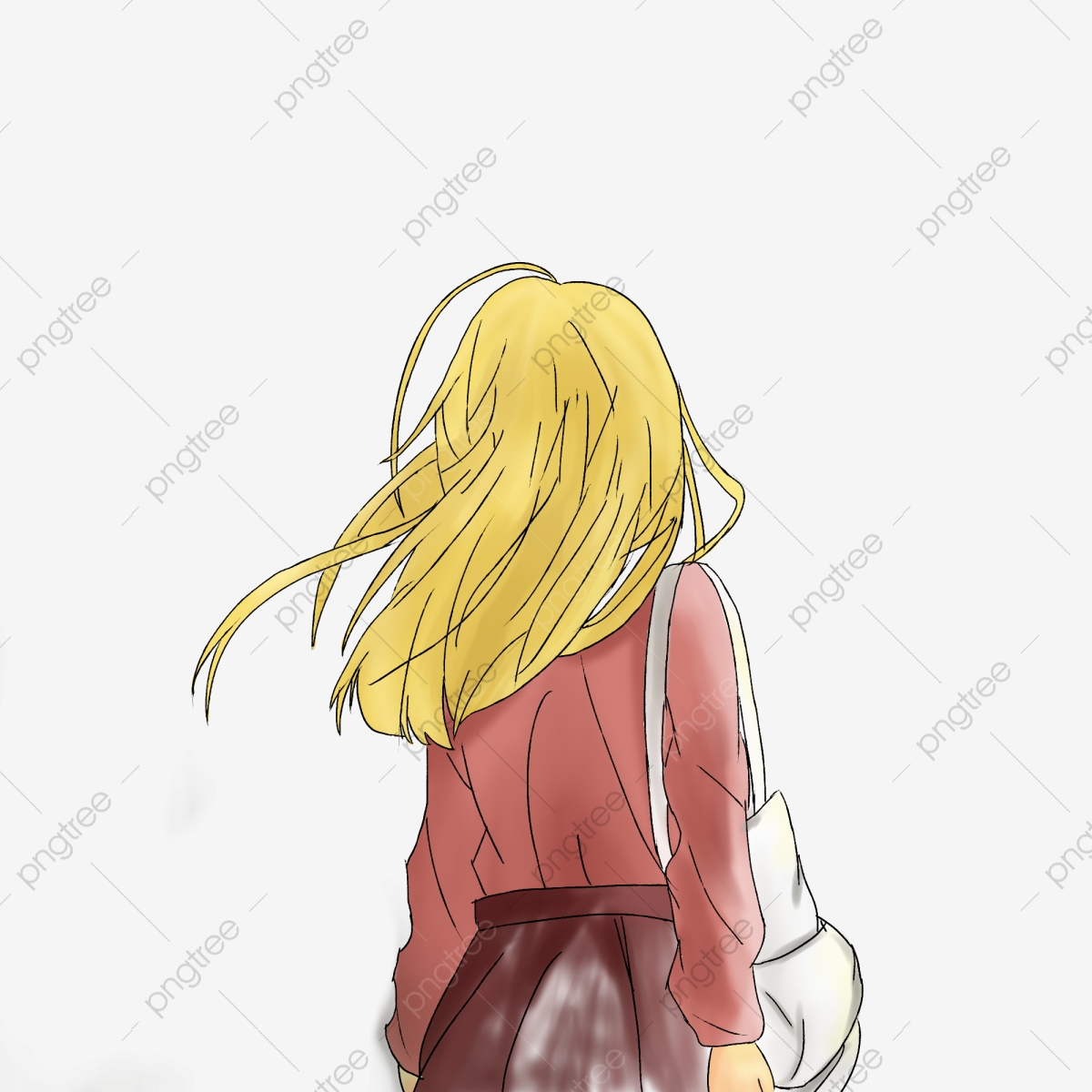 It is a graphic of Obsessed Girl Back View Drawing
