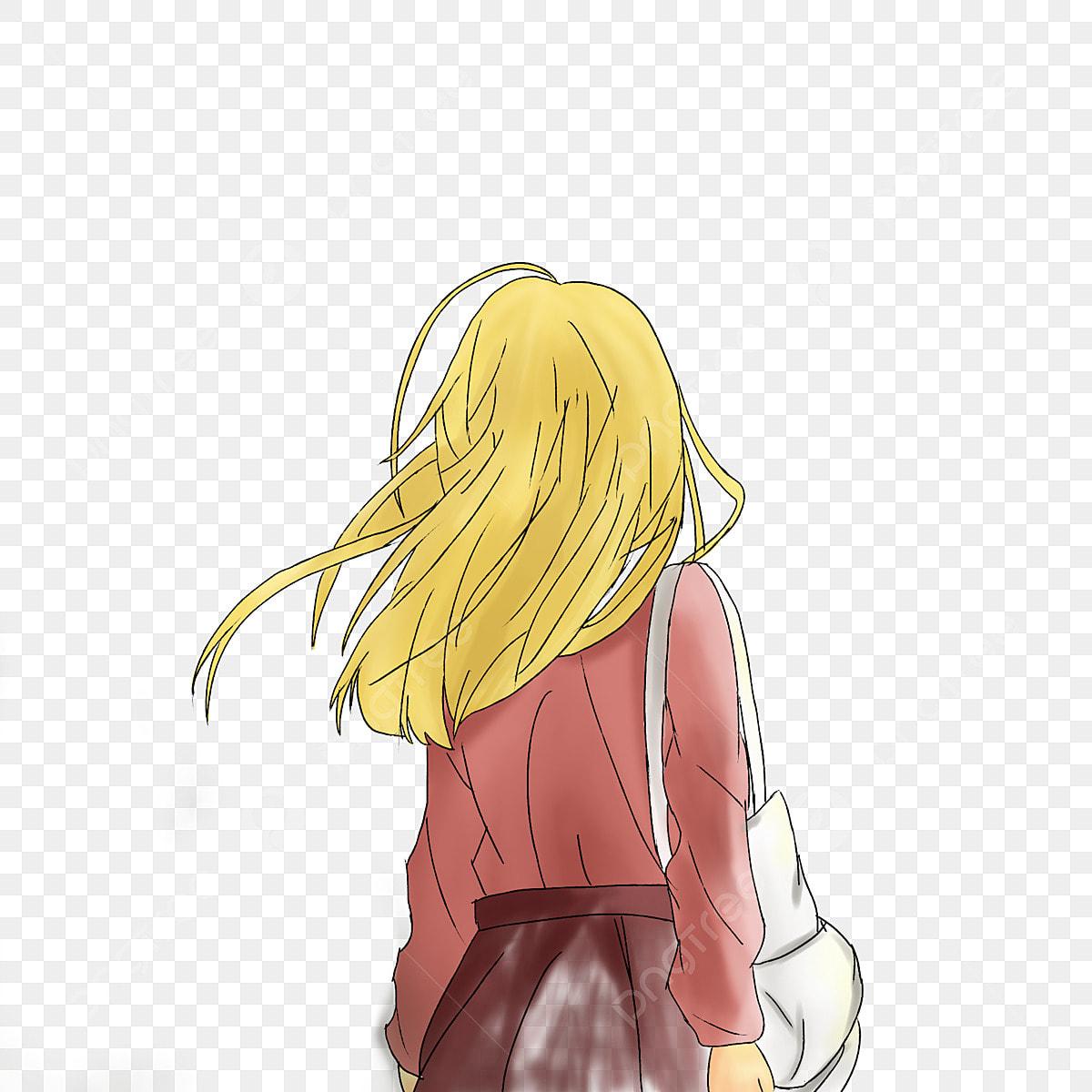 Blond Petite Fille Main Dessin Personnage Vue De Dos