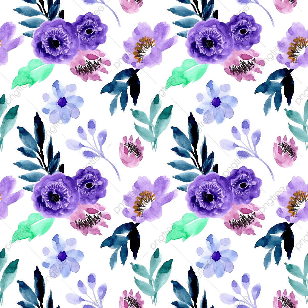 Blue Purple Watercolor Floral Pattern Watercolor Floral Hand