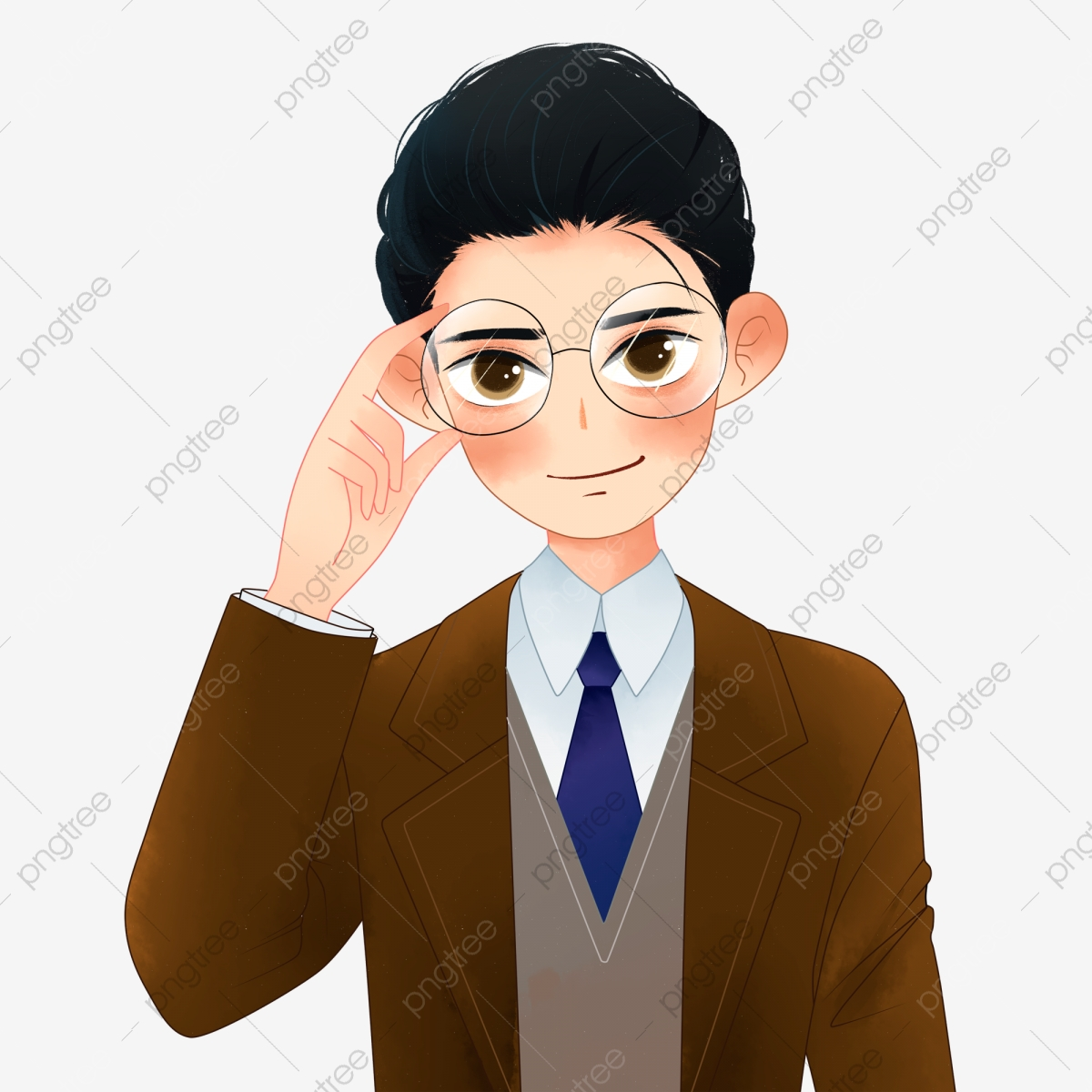 Boy Character Design Wearing Glasses Hand Painted Cartoon